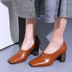 Naisten Aitoa nahkaa Chunky heel Avokkaat Suljettu toe kengät