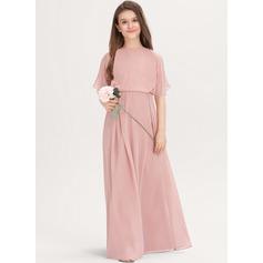 Corte A Decote redondo Longos Tecido de seda Vestido de daminha júnior (009217812)