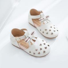 Fille de bout rond Bout fermé similicuir talon plat Chaussures plates avec Boucle Velcro