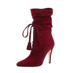 Frauen Veloursleder Stöckel Absatz Absatzschuhe Stiefel-Wadenlang mit Zuschnüren Schuhe