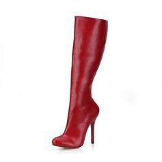Donna Similpelle Tacco a spillo Stiletto Punta chiusa Stivali Stivali al ginocchio scarpe (088095423)