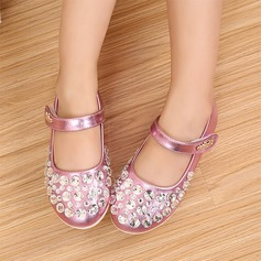 Girl's Leatherette Flat Heel Round Toe Closed Toe Mary Jane Flats With Sequin Velcro Crystal