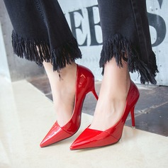 Frauen Lackleder Stöckel Absatz Absatzschuhe Geschlossene Zehe mit Zweiteiliger Stoff Schuhe