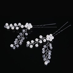 Ladies Gorgeous Crystal/Rhinestone/Imitation Pearls Hairpins (Set of 2)