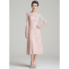 A-Line/Princess Scoop Neck Tea-Length Lace Mother of the Bride Dress (008072720)