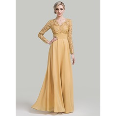 A-Line/Princess V-neck Floor-Length Chiffon Mother of the Bride Dress With Ruffle (008085289)