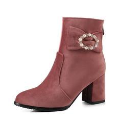 Vrouwen Suede Chunky Heel Pumps Enkel Laarzen met Parel schoenen