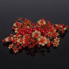 Elegante Crystal/La perla de faux/cobre Peines y pasador (Se venden en una sola pieza)