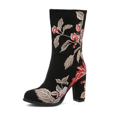 Women's Real Leather Chunky Heel Pumps Boots Mid-Calf Boots With Flower shoes