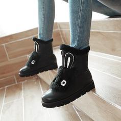 Mulheres Couro Sem salto Sem salto Plataforma Bota no tornozelo com Outros sapatos