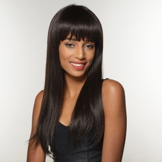 Straight Human Hair Blend Human Hair Wigs