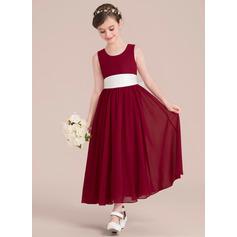 Empire-Linie A-Linie U-Ausschnitt Knöchellang Chiffon Kleider für junge Brautjungfern mit Schleifenbänder/Stoffgürtel Schleife(n)