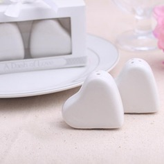 """Sweet Heart"" Ceramic Salt & Pepper Shakers With Ribbons"