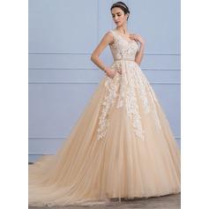 De baile Decote redondo Comboios Catedral Tule Renda Vestido de noiva com Beading Bolsos (002107826)