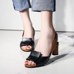 Kvinnor Konstläder Tjockt Häl Pumps Peep Toe med Andra skor