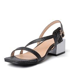 Frauen Kunstleder Stämmiger Absatz Sandalen Absatzschuhe mit Schnalle Schuhe