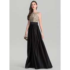 A-Line/Princess Scoop Neck Floor-Length Satin Evening Dress (017126608)