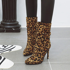 Women's Suede Stiletto Heel Ankle Boots With Animal Print shoes