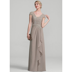 A-Line/Princess V-neck Floor-Length Chiffon Lace Mother of the Bride Dress With Beading Sequins Cascading Ruffles (008107665)