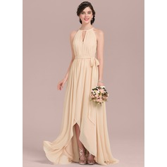 A-Line Scoop Neck Asymmetrical Chiffon Bridesmaid Dress With Ruffle Bow(s)