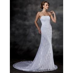 Corte trompeta/sirena Escote corazón Cola capilla Encaje Vestido de novia