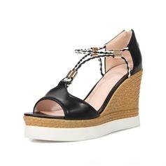 Kvinnor Konstläder Kilklack Sandaler Plattform Kilar Peep Toe skor