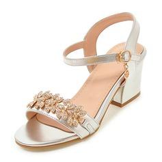 Donna Similpelle Tacco spesso Sandalo Stiletto Punta aperta con Strass Fibbia scarpe