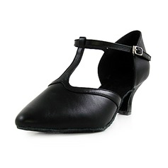 Women's Real Leather Heels Pumps Character Shoes With T-Strap Dance Shoes