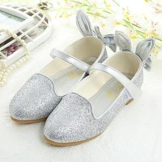 Mädchens Geschlossene Zehe Leder Flache Ferse Flache Schuhe Blumenmädchen Schuhe mit Bowknot Funkelnde Glitzer Klettverschluss