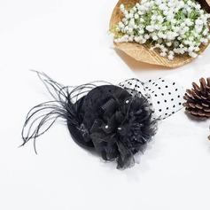 Senhoras Vintage Inverno Pena/Fio rede com Fascinators
