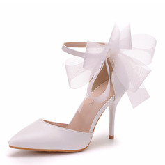 Women's Leatherette Stiletto Heel Closed Toe Pumps With Ribbon Tie