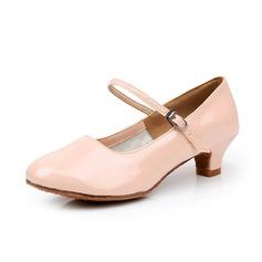 Mulheres Crianças Couro Saltos Bombas Swing sapatos de personagem com Fivela Sapatos de dança