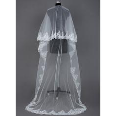 Uma camada Catedral véus de noivas com Borda com aplicação de renda