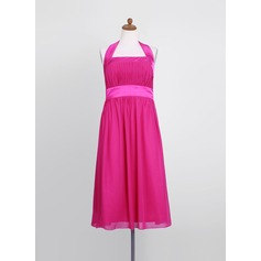Empire Halter Tea-Length Chiffon Junior Bridesmaid Dress With Ruffle