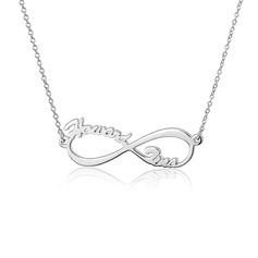 Personalized silver Oändlighet två Namnhalsband - Alla Hjärtans Gåvor