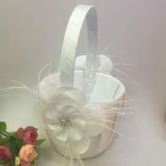 Puro Cesta de flores en Satén & Encaje con Diamantes de imitación/Pluma