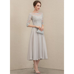 A-Line Scoop Neck Tea-Length Chiffon Lace Lace Cocktail Dress With Beading Sequins (016230373)