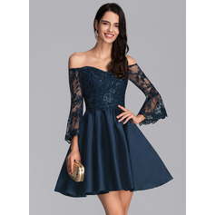 A-Line Off-the-Shoulder Short/Mini Satin Cocktail Dress With Sequins