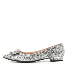 Women's Sparkling Glitter Flat Heel Closed Toe Flats With Sparkling Glitter Crystal