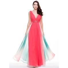 Vestidos princesa/ Formato A Decote V Longos De chiffon Vestido de festa com Pregueado Curvado