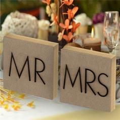 """""""M. et Mme"""" Carré En bois Accessoires décoratifs (lot de 2)"""