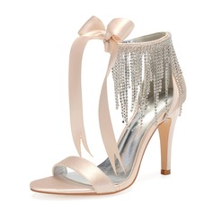 Women's Silk Like Satin Stiletto Heel Peep Toe Pumps Sandals With Bowknot Rhinestone Ribbon Tie Lace-up Tassel Zipper Chain