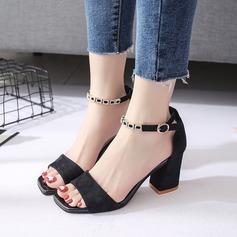 Kvinder Ruskind Stor Hæl sandaler Pumps Kigge Tå Slingbacks med Spænde Kæde sko