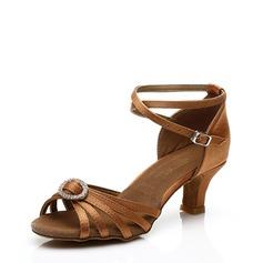 Women's Satin Sandals Latin With Rhinestone Dance Shoes