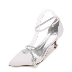 Kvinder silke lignende satin Stiletto Hæl Pumps sandaler med Spænde Imiteret Pearl (047138080)