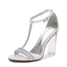 Women's Silk Like Satin Chunky Heel Peep Toe Pumps Sandals With Buckle
