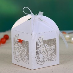 Delicate Laser Cut Favor Boxes With Ribbons (Set of 12)