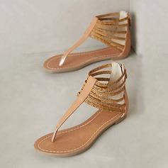 Femmes Similicuir Talon plat Sandales Chaussures plates À bout ouvert Escarpins avec Zip chaussures