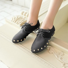 Women's Suede Flat Heel Flats With Rivet shoes