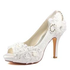 Women's Plastics Stiletto Heel Peep Toe Platform With Applique Crystal
